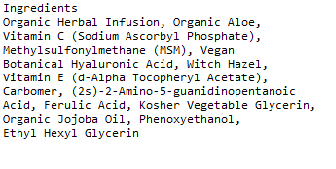 Azure Naturals Vitamin C serum ingredients