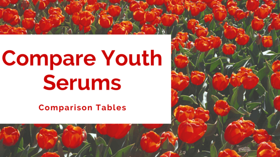 Compare Youth Serums - table comparisons explained