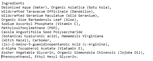 Serumtologie Vitamin C with Hyaluronic Acid Serum Ingredients